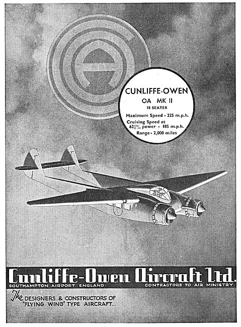 Cunliffe-Owen OA MKII 18 Seater Flying Wing Aircraft
