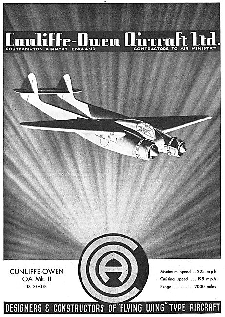 Cunliffe Owen OA MK II 18 Seater Flying Wing Aircraft