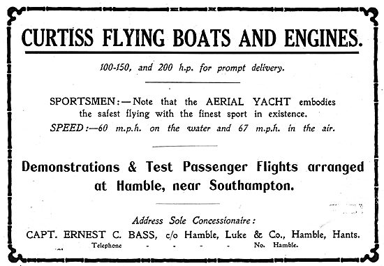 Capt Ernest Bass Hamble - Concessionaire For Curtiss Aeroplanes