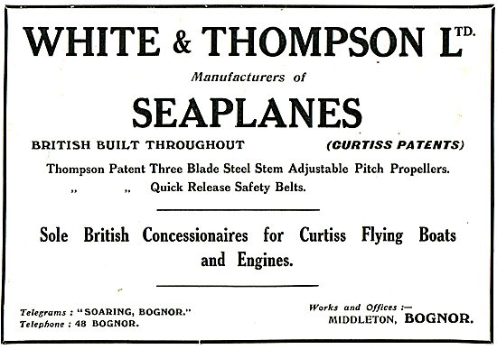 White & Thompson Bognor. Manufacturers Of Seaplanes