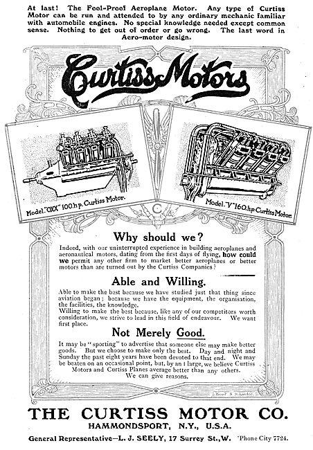 Curtiss Model OXX 100HP Aero Motor - Curtiss Model V 160 Motor