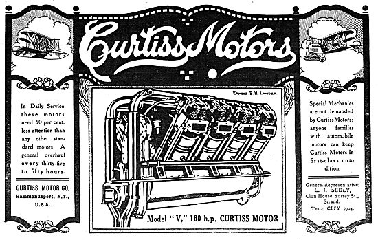 Curtiss Model V 160 HP Aeroplane Motor