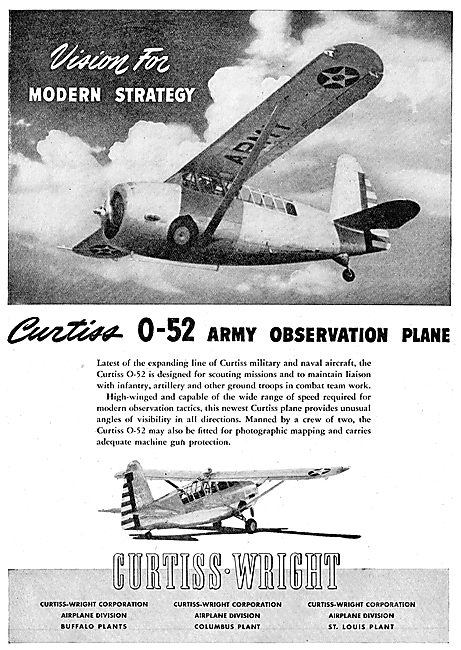 Curtiss-Wright O-52 Army Observation Aircraft