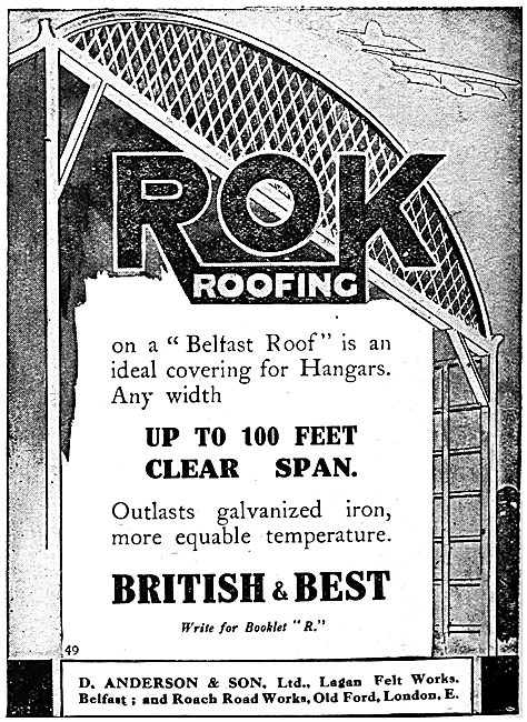 D.Anderson & Sons ROK Belfast Roofs For Hangars - 1919