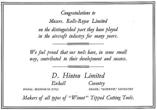 D.Hinton. Exhall.Coventry.  Wimet Tipped Cutting Tools