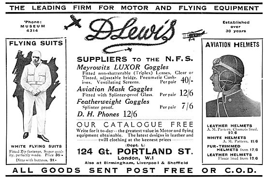 D.Lewis Flying Clothing. NFS Suppliers 1929