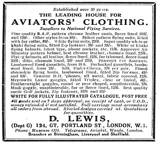 D Lewis The Leading House For Aviators' Clothing.