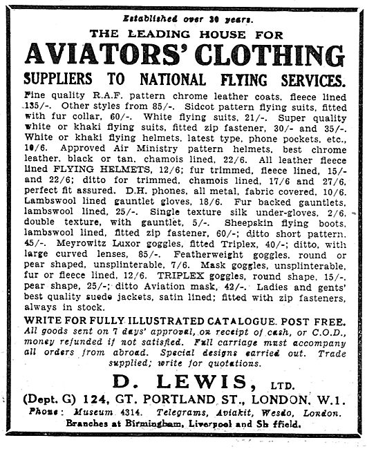 D Lewis Aviator's Clothing Supplied To National Flying Services