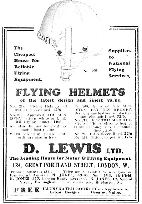 D Lewis Aviator's Clothing - NFS Flying Helmets