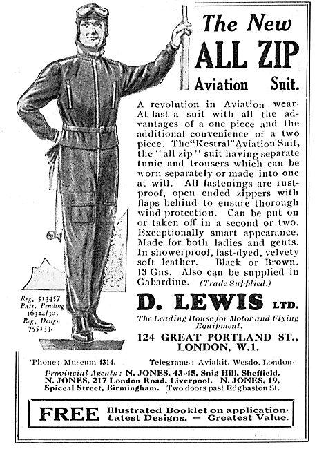 D Lewis Aviator's All Zip Aviation Suit