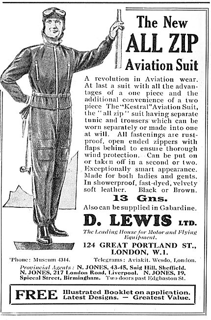 D Lewis Aviator's Clothing. All Zip Aviation Suit 13 Gns
