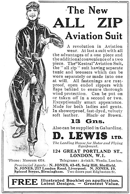 D Lewis Aviator's Kestrel Flying Suits For Ladies.