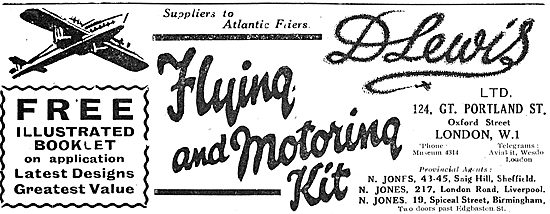 D Lewis Aviator's Clothing Supplied To Atlantic Fliers