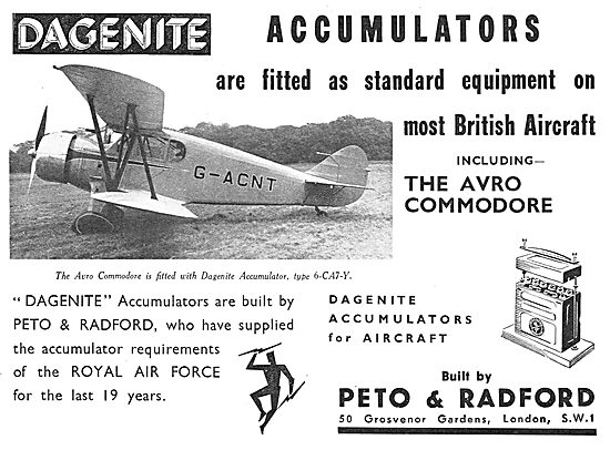 Dagenite Accumulators For Aircraft - Avro Commodore G-ACNT