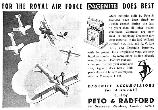 Dagenite Accumulators For Aircraft - Battery - RAF