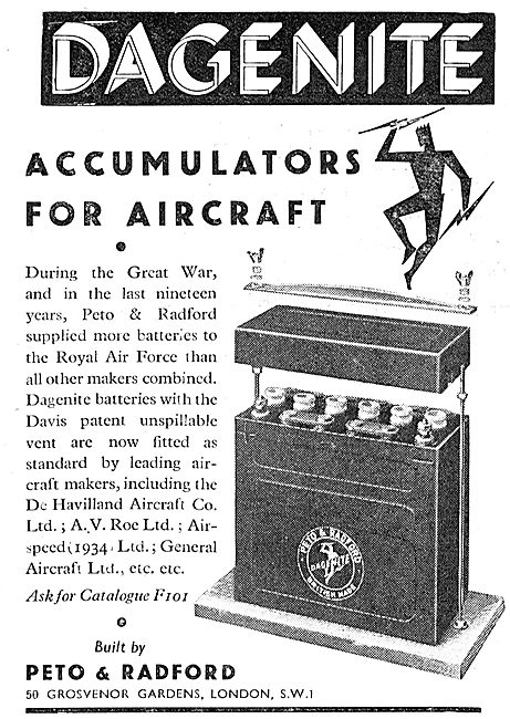Dagenite Accumulators For Aircraft - Battery