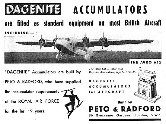 Dagenite Accumulators For Aircraft - Battery - Avro 642