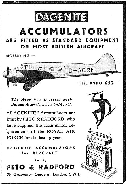 Dagenite Accumulators For Aircraft - Battery - Avro 652