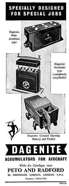 Dagenite Accumulators For Aircraft - Battery. Trolley Acc  1943