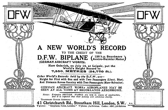 The DFW Biplane (120 HP Beardmore Austro-Daimler Motor)