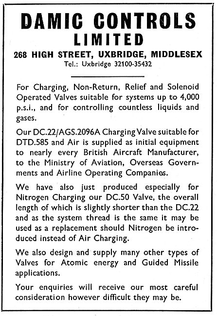 Damic Aircraft Charging Valves. Relief & Solenoid Operated