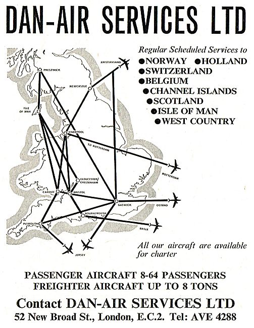 Dan-Air Scheduled Route Network