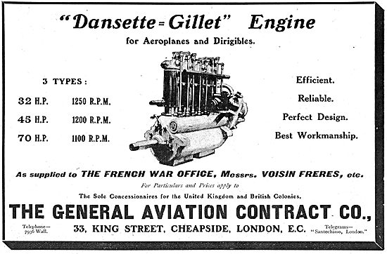 Dansette Gillet Engines For Aeroplanes & Dirigibles