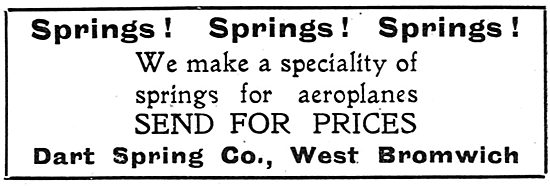 Dart Spring Co. West Bromwich. Springs For Aeroplanes