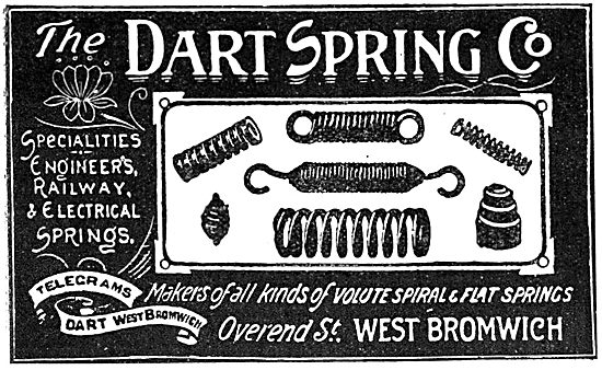 Dart Spring Co. West Bromwich. Dart Springs 1919 Advert