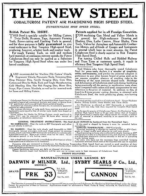 Darwin & Milner Cobaltcrom Tungstenless High Speed Steels 1917