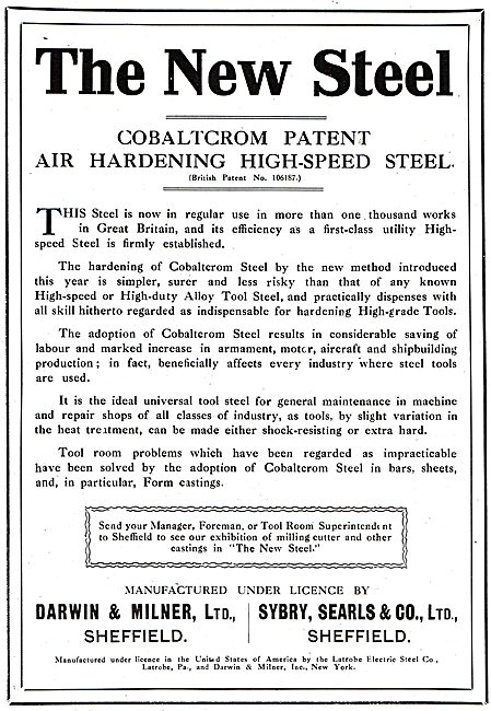 Darwin & Milner - Cobaltcrom Steel. Bar, Strip & Castings