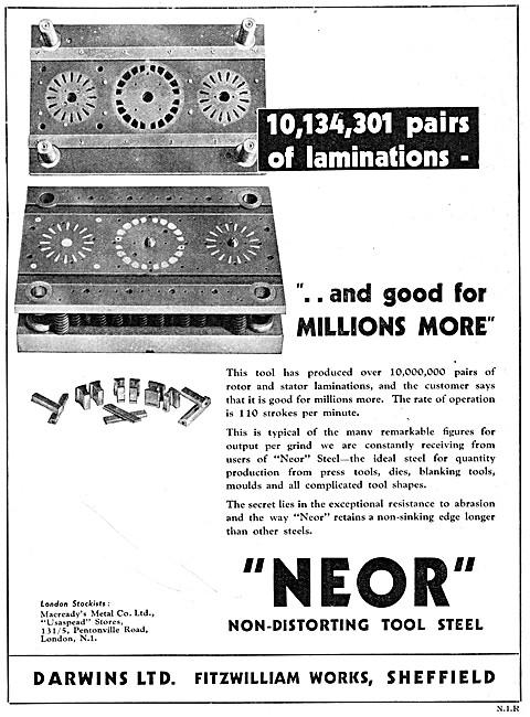 Darwins NEOR Non-Distorting Tool Steel