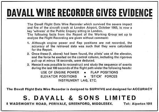 Davall FDR - Davall Aircraft Flight Data Recorders Wire Recorders