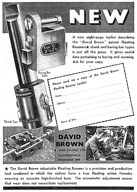 David Brown Patent Floating Reamers