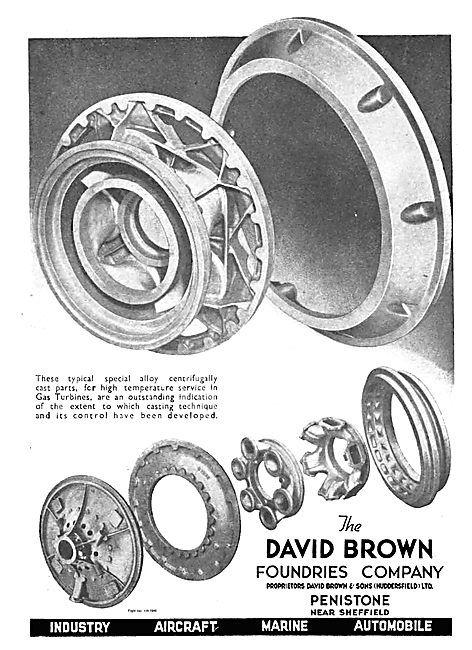 David Brown Centrifugally Cast Parts For Gas Turbine Engines