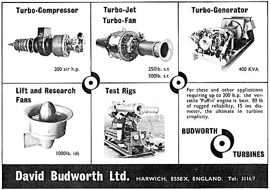David Budworth Ltd. Budworth Gas Turbines. Budworth Puffin
