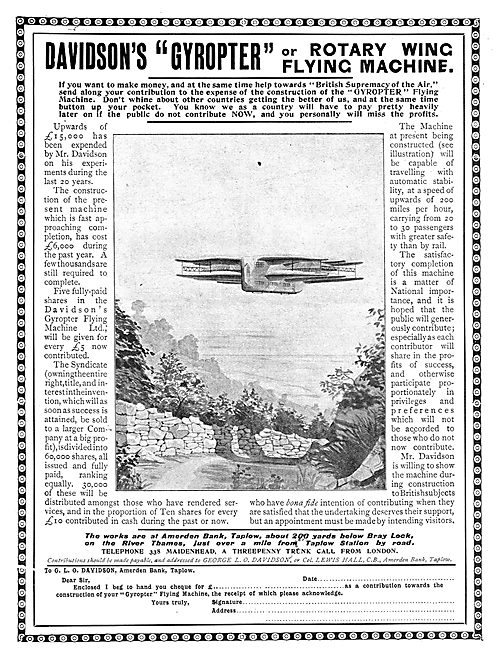 The Davidson's Gyropter Flying Machine - Roary Wing Machine