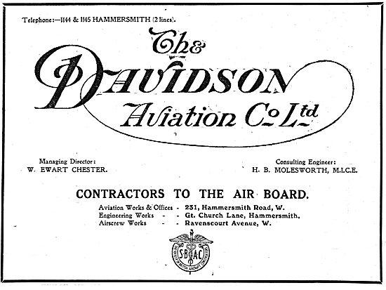 Davidson Aviation - Hammersmith Rd. Aeroplane Constructors