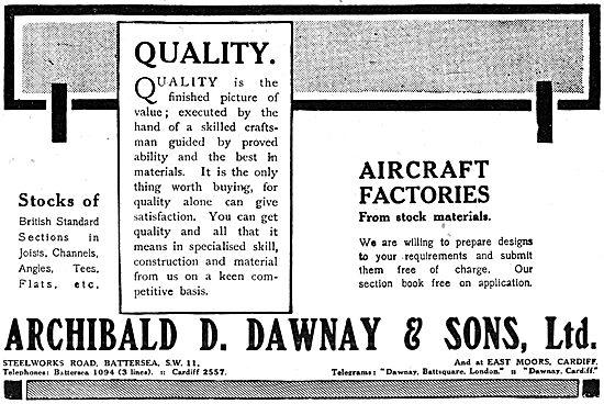 Archibald D.Dawnay. Aircraft Factory & Hangar Construction