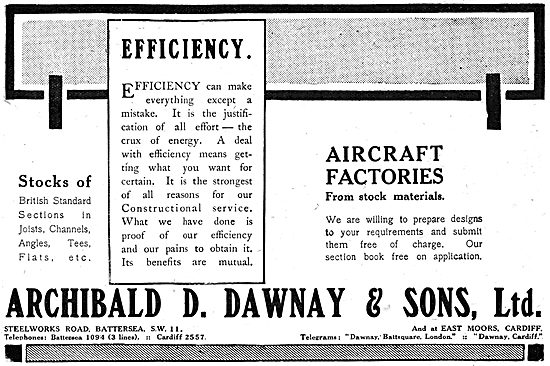 Archibald D.Dawnay. WW1 Aircraft Factory Design 1917