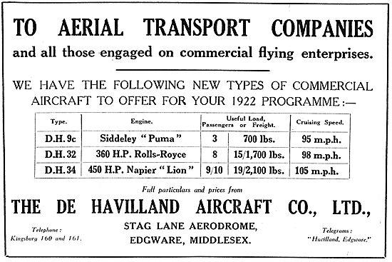 De Havilland DH9c, DH32, DH34 Commercial Aircraft