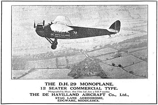 The De Havilland DH29 12 Seater Commercial Monoplane
