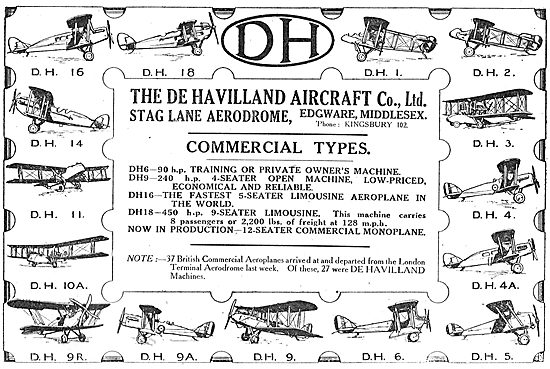 The De Havilland Range Of Commercial Aircraft Types