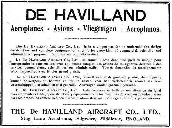 De Havilland Aeroplanes - Avions - Vliegtuigen - Aeroplanos