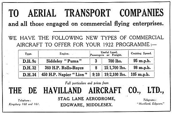 Listing Of De Havilland Commercial Aeroplanes. DH32, DH34