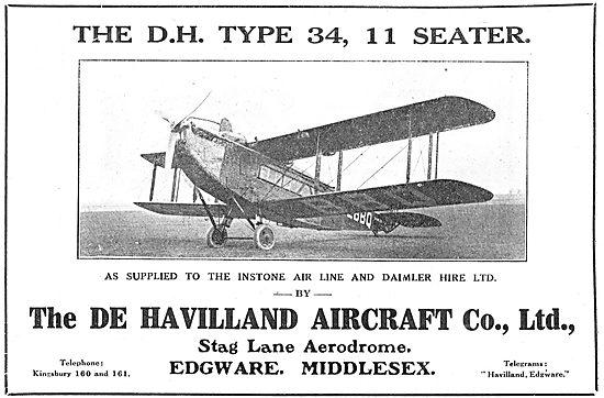 De Havilland Type 34 Eleven-Seeater. As Supplied To Instone.