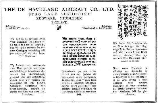 De Havilland Aircraft Welcome Export Enquiries.