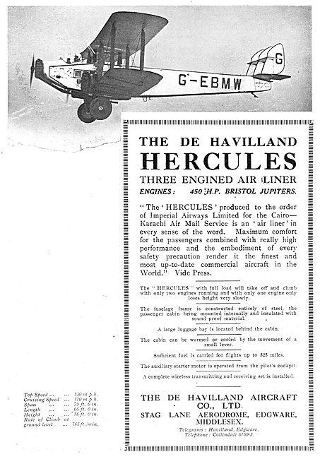 De Havilland Hercules Airliner. G-EBMW