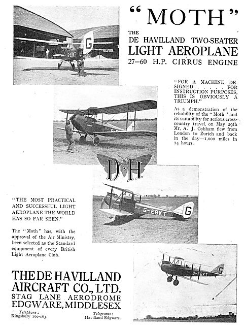 De Havilland Two Seater Light Aeroplane - 27-60 HP Cirrus
