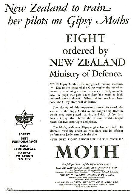 New Zealand To Train Her Pilots On De Havilland Gipsy Moths